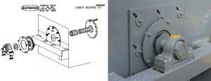 Lower Bearing Kit Illustration, with actual machine lower bearing.
